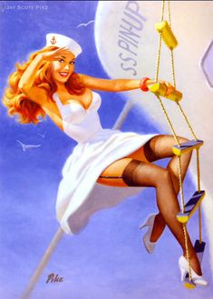 We're back today with a creative set of pin-up girl illustrations. Majority of featured artworks have a strong vintage feel … but what's important, pretty much Pin Up Vintage, Retro Pin Up, Estilo Pin Up Retro, Photo Vintage, Retro Vintage, Vintage Sailor, Vintage Nautical, Pinup Art, Pin Up Girls