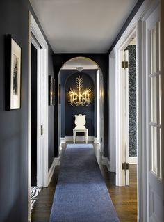 Entry Long Hallway Decorating Good Ideas - Artistic Home Decor Hallway Paint, Dark Hallway, Long Hallway, Bright Hallway, Hallway Colours, Hallway Flooring, Hallway Walls, Upstairs Hallway, Flur Design