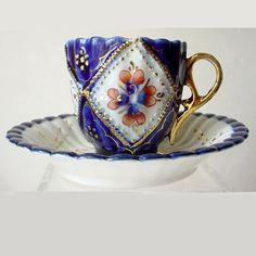 Cobalt Blue Porcelain Cup & Saucer Gold Trim Hand Painted Flowers Germany