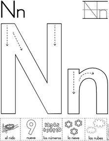 letra n fichas del abecedario y el alfabeto para descargar gratis para imprimir de niños