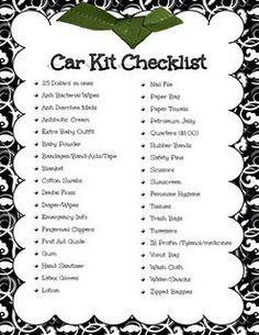Car Kit Checklist (plus an emergency number list & diaper bag checklist) Car Survival Kits, Emergency Supplies, Emergency Kits, Survival Tips, Survival Skills, Survival Videos, Survival Supplies, Survival Stuff, Homestead Survival
