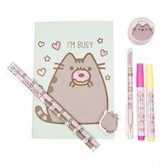 Pusheen Super Stationery Set (280 CZK) ❤ liked on Polyvore featuring home, home decor and stationery