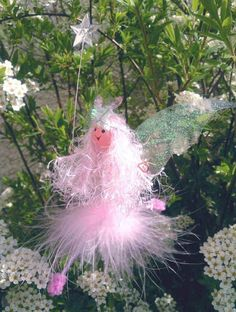 Pink Flittery Fairy mobile from Scottish Fairies  so light weight, soft to hang in car etc.