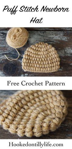 Newborn Crochet Patterns Puff Stitch Newborn Hat – Free Crochet Pattern — Hooked On Tilly Newborn Crochet Patterns, Crochet Baby Hats, Crochet Beanie, Free Crochet, Hat Patterns, Bobble Crochet, Booties Crochet, Knit Hats, Knitting Patterns