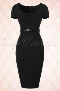 Vintage Chic Pleated Front Black Pencil Dress 100 20 18361 20160404 0006W