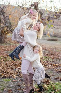 Family fall outdoor photo shoot idea. Mommy and three girls. Pumpkins. Leaves. Apples. Orchard. Autumn. Sweaters. Baby. Sisters. Mom. Mommy and me. Sibling. Siblings. Sisters. Picture pose. Photo Ideas. Portrait.