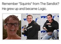 """Logic, The Sandlot, and Sandlot: Remember """"Squints"""" from The Sandlot? He grew up and became Logic. Stupid Funny Memes, Funny Relatable Memes, Haha Funny, Hilarious, Funny Texts, Sandlot Benny, The Sandlot, Sandlot Characters, Sandlot Quotes"""