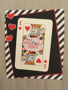 Ystävänpäivä, kortti, diy, pelikortti, the king of my heart, valentines day, card,