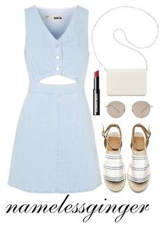 """""""denim 2"""" by namelessginger ❤ liked on Polyvore featuring Topshop, Nine West, Gucci, Edward Bess and DenimDress"""