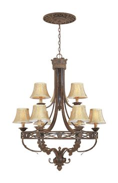 32.25 in wide. $319 DR  View the Designers Fountain 97889 Nine Light Up Lighting Two Tier Chandelier from the Carlisle Collection at LightingDirect.com.