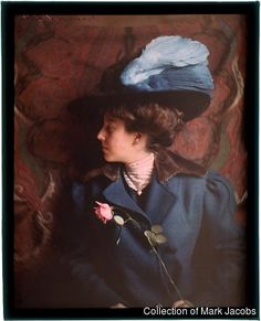 Autochrome: Helen Messinger Murdoch.  Woman in Blue. c.1912. Helen Messinger Murdoch (1862–1956) was an American photographer who pioneered the use of Autochromes in travel photography.