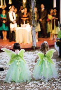 """Flower fairies"" -- flower girls with wings."