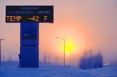 -42 degrees Fahrenheit in Fairbanks, Alaska - my life at home. Literally. Driving to this airport from home to get on a plane - trying to make sure the car doesn't freeze...