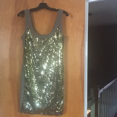 "French connection sleeveless dress Olive green, rayon, gold metallic sequin on front, zippered, 35"" from shoulder to hem French Connection Dresses"