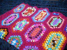 Vintage Crocheted Blanket, Unusual Granny Squares, Bright Colors. via Etsy.