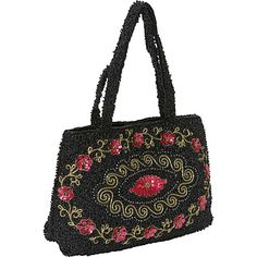 #FabricHandbags, #Handbags - Moyna Handbags Small Purse Cup Sequin Flower Black - Moyna Handbags Fabric Handbags
