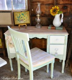 Rustique Restoration: Antique Vanity in Green with a White Glaze..