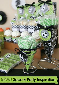 Soccer Party Supplies: Personalized Centerpiece Kits #BigDot #HappyDot #Soccer