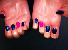 Nails with impact! GELeration Midnight Moonlight and Pink Explosion.