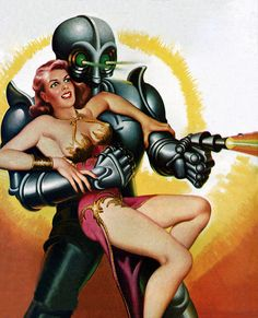 Sci-fi pulp cover art by Earle Bergey 1950, woman dame grasp alien BEM robot pistol gun raygun shooting danger