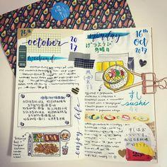"29 Likes, 1 Comments - @destressz on Instagram: ""#journal #journaling #makisan #dailylayout #dailyspread #travelersnotebook #travelersjournal…"""