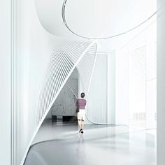 Interior Design for a Gallery in Beijing. A dynamic ribbon is guiding visitors into the exhibition areas by Architecture Details, Interior Architecture, Interior Design, Commercial Design, Commercial Interiors, Art Niche, Corporate Interiors, Lobby Design, Gate Design