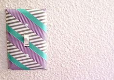 decorate a switch plate with washi tape