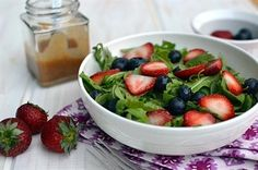 27 Scrumptious, Healthy Strawberry Recipes: Strawberry-Arugula Salad with Fruity Jam Dressing.