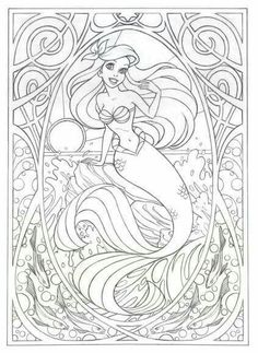 Coloring page for later! Or this >>> Art Nouveau Ariel by Jennifer Gwynne Oliver Illustration Make your world more colorful with free printable coloring pages from italks. Our free coloring pages for adults and kids. Mermaid Coloring Pages, Coloring Book Pages, Mandala Coloring, Free Coloring, Coloring Pages For Kids, Kids Coloring, Disney Coloring Sheets, Free Disney Coloring Pages, Disney Princess Coloring Pages