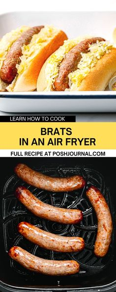 Learn how to cook brats in an air fryer. These air fryer brats are the perfect last-minute snack or meal to serve on game day, Octoberfest, or really any day. This recipe doesn't require a lot of preparation and is quick to cook. #brats #airfryer #recipe Brats Recipes, Oven Recipes, Air Fryer Recipes, Lunch Recipes, Sweets Recipes, New Recipes For Dinner, Delicious Dinner Recipes, Yummy Food, Yummy Treats