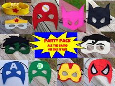 Superhero Masks Party Pack Superman Batman Spider Man Batgirl Wonder Woman Flash Hulk Green Lantern Captain America Party Pack of Masks by littleshepsters on Etsy