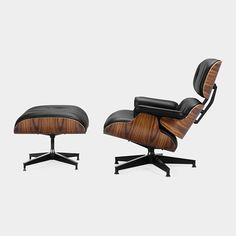 Eames lounge chairs & ottomans. Something like this could be a good replacement to my husband's bulky recliner in our living room.