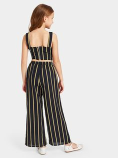 To find out about the Girls Tie Waist Striped Crop Top & Wide Leg Pants Set at SHEIN, part of our latest Girls Two-piece Outfits ready to shop online today! Girls Summer Outfits, Cute Girl Outfits, Cute Outfits For Kids, Girls Fashion Clothes, Girl Fashion, Fashion Outfits, Fashion Trends, Jumpsuits For Girls, Striped Crop Top