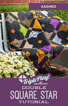 Be ready for Halloween with the latest Triple Play from Missouri Star! This week the Doan girls are stitching up three unique Double Square Star quilts including the Sashed Double Square Star quilt featuring fun and spooky Halloween fabrics! Click the link below to watch the Triple Play! Double Square Stars tutorial now! #MissouriStarQuiltCo #MSQC #TriplePlay #DoubleSquareStars #HalloweenQuilt #Halloween #Quilting #Quilts #Sewing #HowToQuilt #QuiltTutorial #QuiltPattern #QuiltBlocks