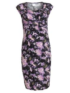 Mamalicious Maternity Ida Printed Jersey Dress. Gorgeous floral print design. Cap sleeves and pleats above bust. Knee length tailored dress with room for your growing bump.  www.klmmaternitywear.co.uk/product/ida