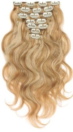 Clip in extension set blond #27/613 / 120 gram / 50 cm