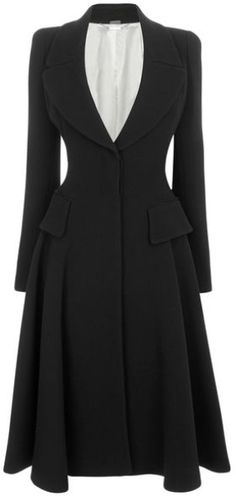 Alexander Mcqueen Black Black Crepe Wool Riding Coat