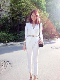 Deliana Long Sleeved Wrap Wide Leg Jumpsuit White - Click for ...