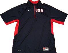 Nike USA Olympic Basketball 1/4 Zip Warm-up Pullover Jacket Mens Lg Sports Game #Nike #USA
