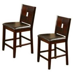 Alpine Furniture 552-02 Lakeport Set of 2 Counter Height Pub Chair with Faux Leather Cushion in Espresso