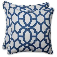 Outdoor/Indoor Nunu Geo Ink Blue Throw Pillow Set of 2 - Pillow Perfect