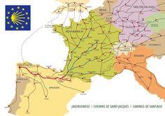Jakobsweg Karte: Der Jakobsweg besteht aus einem ganzen Netz von Jakobswegen, wie diese Karte zeigt