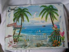 """Maritimes Bild – """"Sommer at the Beach"""" auf Leinwand. Toll zur Dekoration im Bad"""