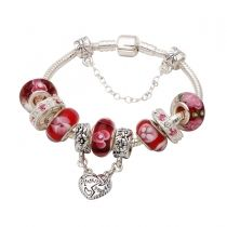 Mothers day gift! Red flower murano glass beads silver mother daughter dangle charm beads European bracelet