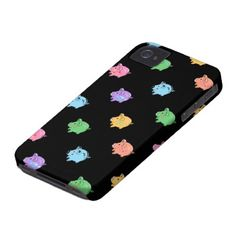 iphone 4 cases pig   Rainbow Pig Pattern on black iPhone 4 Case-Mate Case from Zazzle.com