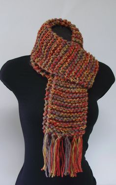 Autumn Red Yellow and Gray Ribbed Scarf with Fringe by LaurasLovelyKnits, $39.00