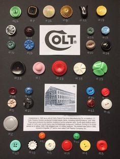 More about Colt Brand buttons. From North Carolina State Button Society in… Cool Buttons, Types Of Buttons, Vintage Buttons, Button Cards, Button Button, Crazy Patchwork, Baubles And Beads, Upcycled Crafts, Repurposed