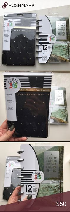 Mini Fitness Happy Planner w/ Black Snap-In Cover Brand new mini Fitness Happy Planner with black with dots snap-in cover.  Great size to put in your purse/backpack so you don't forget to log your fitness journey.  Dated for January 2017-December 2017. Create 365 Accessories