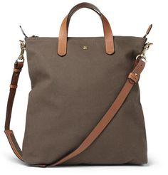 Mismo Leather-Trimmed Canvas Tote Bag | MR PORTER