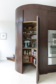 12 stylish and practical pantry ideas for your kitchen Try a circular walk-in larder if you have the space and your kitchen will feel more spacious than before. Image: Mowlem & Co - Own Kitchen Pantry Benchmarx Kitchen, Kitchen Pantry Design, Kitchen Pantry Cabinets, Kitchen Hacks, Kitchen Ideas, Kitchen Inspiration, Rustic Kitchen, Kitchen Storage Units, Tall Cabinet Storage